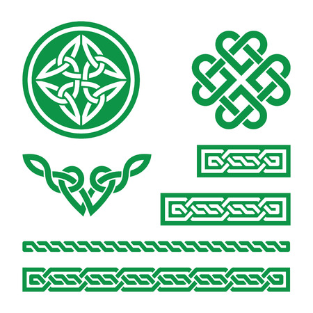 scottish: Celtic green knots, braids and patterns - vector Illustration