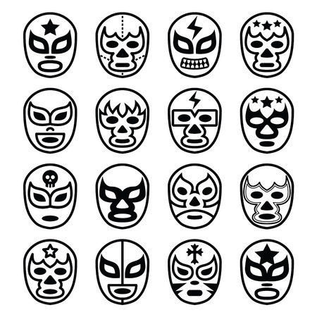 fierce competition: Lucha Libre Mexican wrestling masks - line black icons