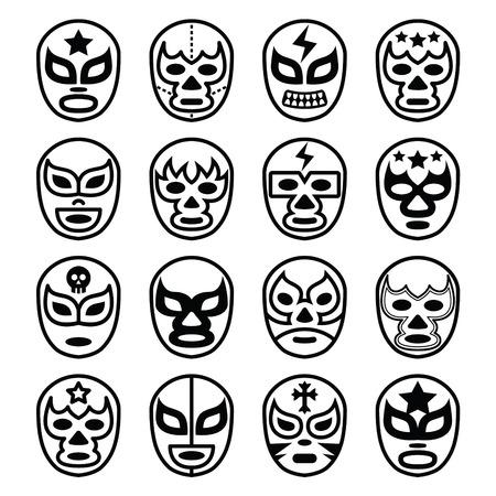 traje mexicano: Máscaras de lucha libre mexicana de Lucha Libre - Línea iconos negros Vectores