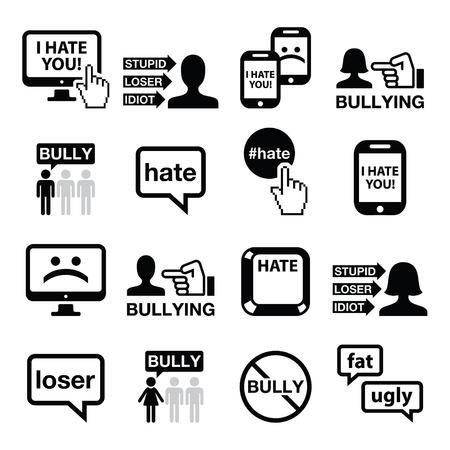 Cyberbullying vector icons set  イラスト・ベクター素材