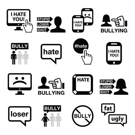 woman cellphone: Cyberbullying vector icons set Illustration
