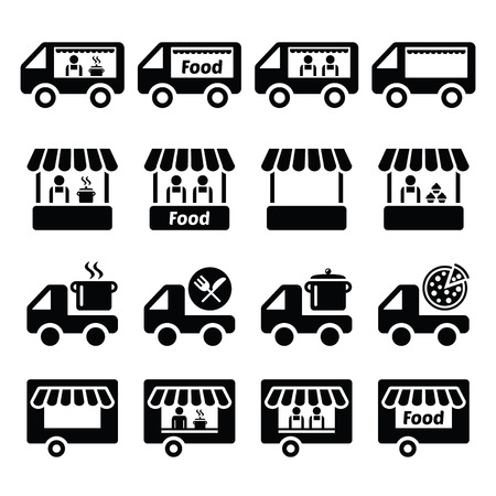 of food: Food truck, food stand and food trailer icons set