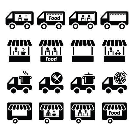 Voedsel vrachtwagen, eten staan en voedsel trailer pictogrammen instellen Stock Illustratie
