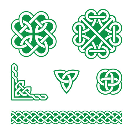 Celtic knots green patterns - vector Çizim