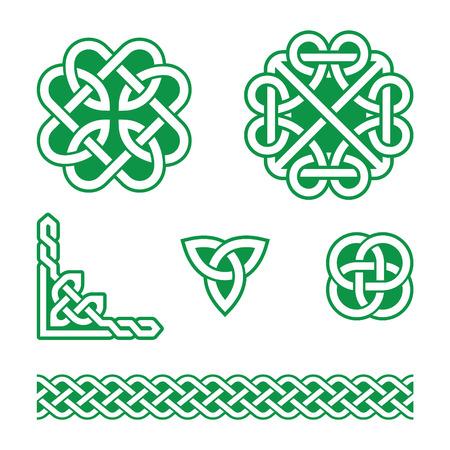 Celtic knots green patterns - vector Stock Illustratie