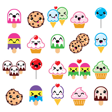 Cute Kawaii food characters - cupcake, ice-cream, cookie, lollipop icons Illustration