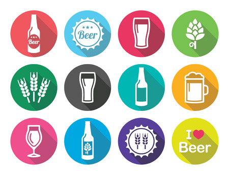 pint glass: Beer flat design round icons set - bottle, glass, pint