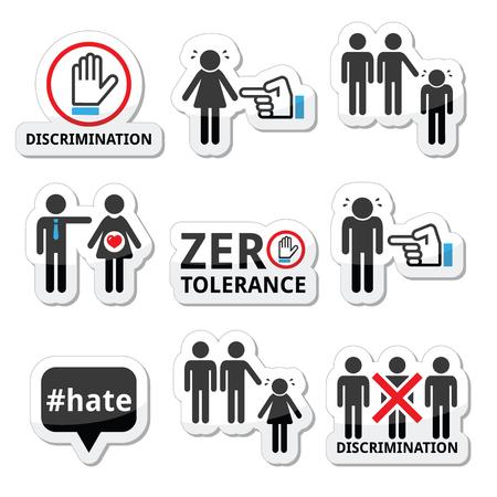 sex discrimination: Stop discrimination of men, and women icons set