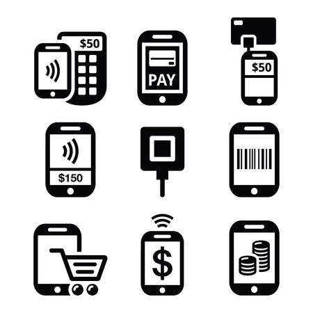 product signal: Mobile or cell phone payments, paying online with smartphone icons