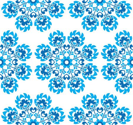 folk art: Seamless blue floral Polish folk art pattern - wzory lowickie, wycinanki