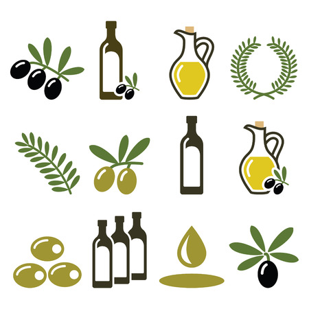extra virgin olive oil: Olive oil, olive branch icons set