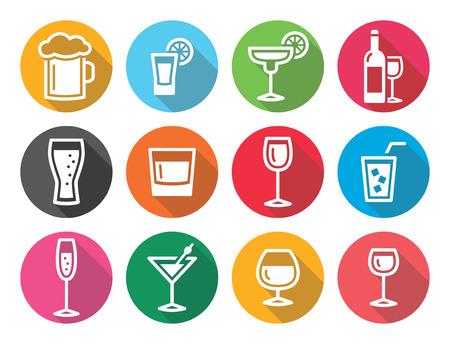 Drink alcohol beverage round flat design icons set Ilustração