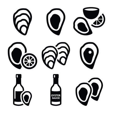 ostra: Las ostras de concha, salsa - Iconos de comida de mar Vectores