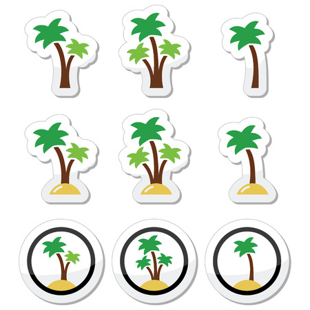 skin oil: Palm trees, exotic holidays on beach vector icons set Illustration