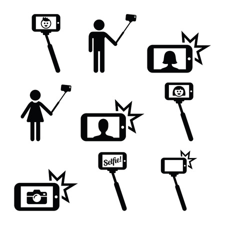 woman smartphone: Selfie stick with mobile or cell phone icons set Illustration