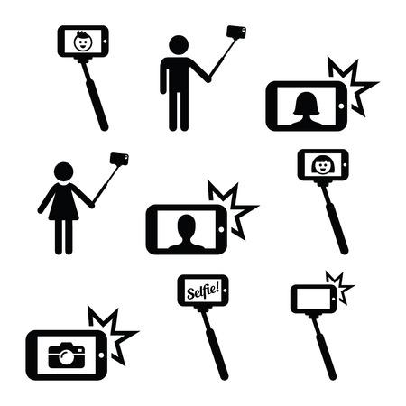 Selfie stok met mobiele of mobiele telefoon pictogrammen instellen