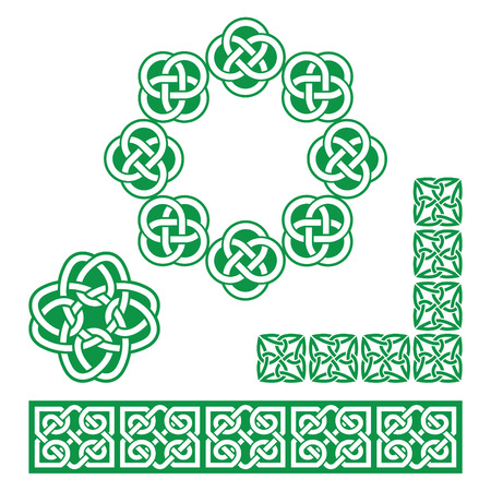 english countryside: Irish Celtic green design - patterns, knots and braids Illustration