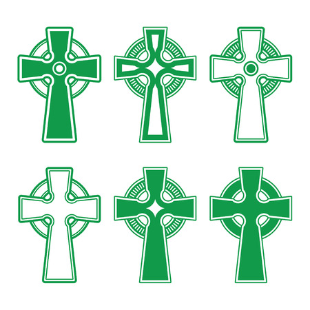 ancient ireland celtic cross: Irish, Scottish Celtic green cross on white - vector
