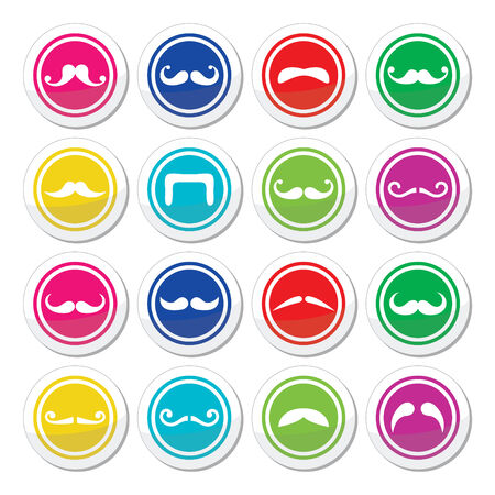 french fancy: Moustache or mustache round colorful vector icons Illustration