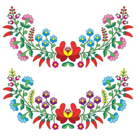 bordados: Folk patrón floral húngaro - bordado Kalocsai con flores y pimentón Vectores