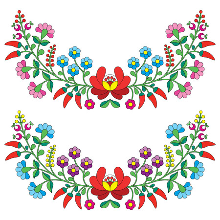 Hungarian floral folk pattern - Kalocsai embroidery with flowers and paprika Ilustracja