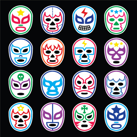 wrestling: Lucha Libre Mexican wrestling masks icons on black