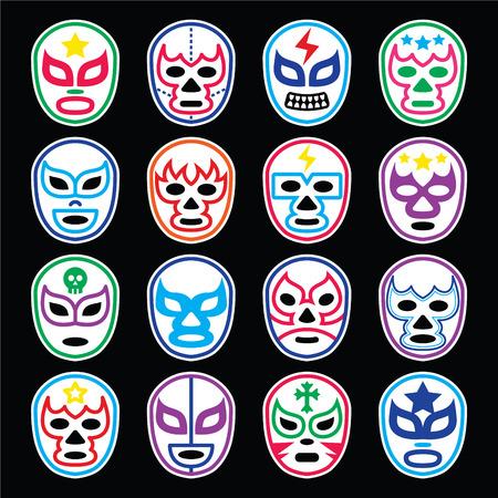 traje mexicano: Lucha Libre Mexicana máscaras de lucha libre iconos en negro