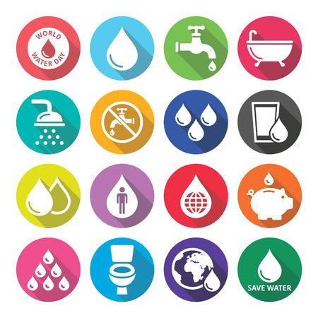 acqua bicchiere: Icone Giornata Mondiale dell'Acqua - ecologia, concetto verde
