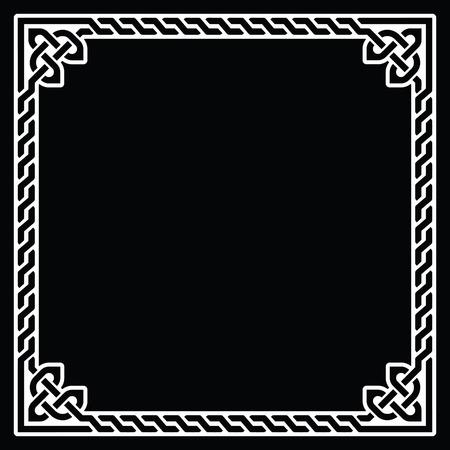 braids: Celtic frame, border white pattern on black Illustration