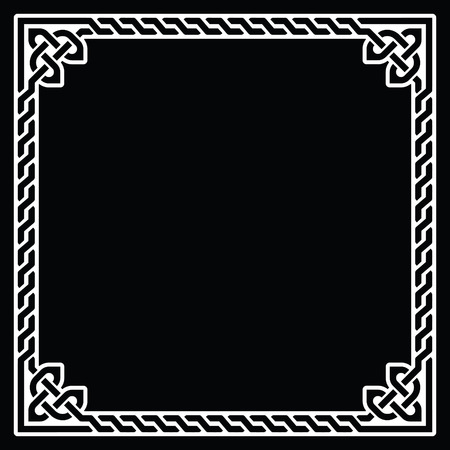 ethnographic: Celtic frame, border white pattern on black Illustration