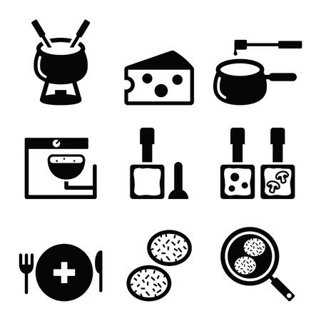 Schweizer Küche und Geschirr Symbole - Fondue, Raclette, Rösti, Käse Standard-Bild - 37060185