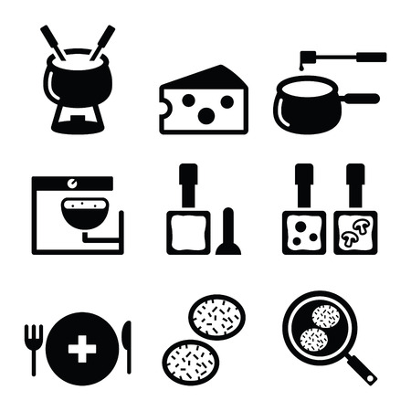 Swiss food and dishes icons - fondue, raclette, rosti, cheese Çizim