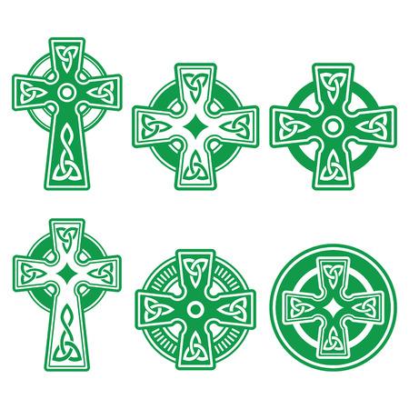 Irischen, schottischen Celtic grünen Kreuz auf weißem Vektor-Zeichen