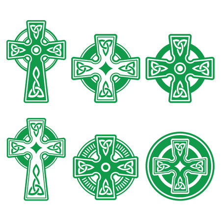 celtica: Irlandese, scozzese celtica croce verde su fondo bianco segno vettoriale
