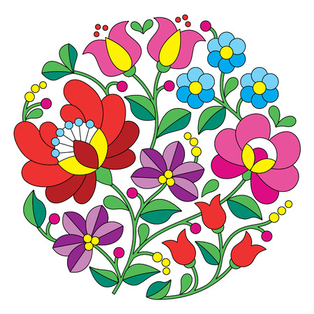 Kalocsai embroidery - Hungarian round floral folk pattern Vector