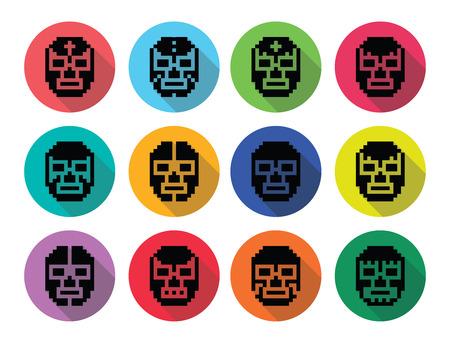 wrestler: Lucha Libre, luchador pixelated Mexican wrestling masks black icons