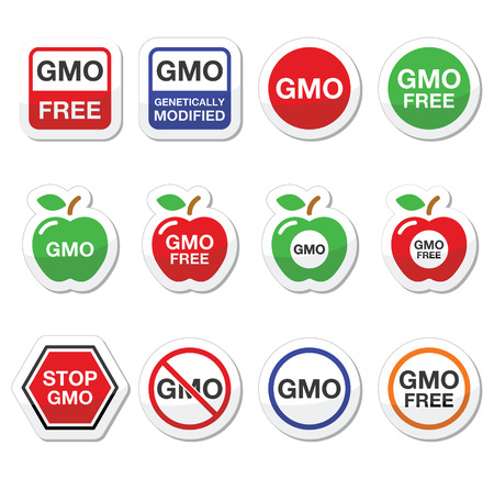 genetically modified crops: GMO food, no GMO or GMO free icons set Illustration
