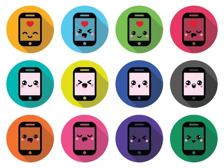 closed mouth: Japanese cute Kawaii character - mobile or cell phone icons set