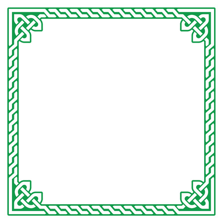 english countryside: Celtic green frame, border pattern - vector