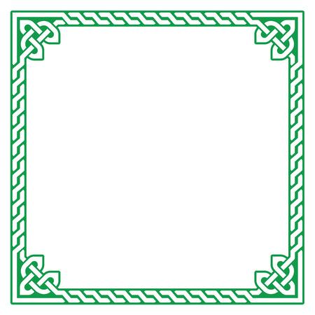 ethnographic: Celtic green frame, border pattern - vector