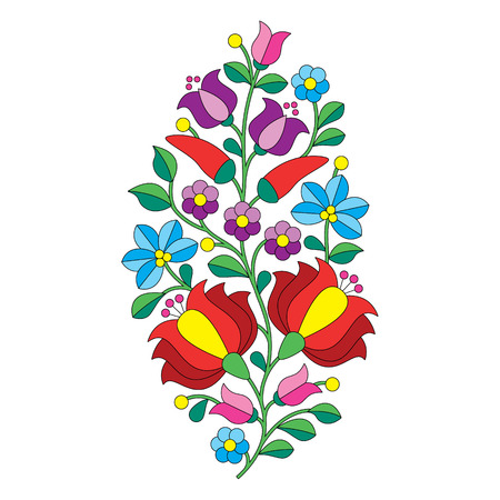 Hungarian folk pattern - Kalocsai embroidery with flowers and paprika Vector