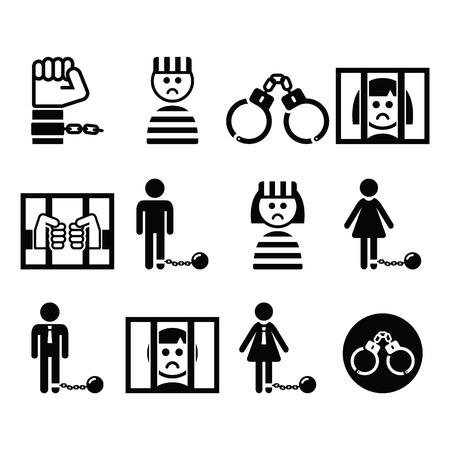 Gefangener, Kriminalität, eingestellt Sklaverei Vektor-Icons