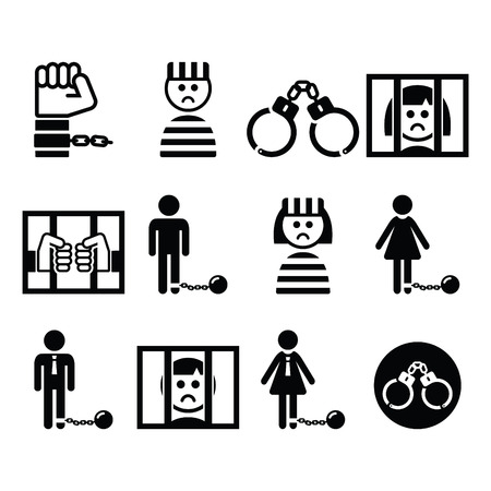 jail: Prisoner, crime, slavery vector icons set