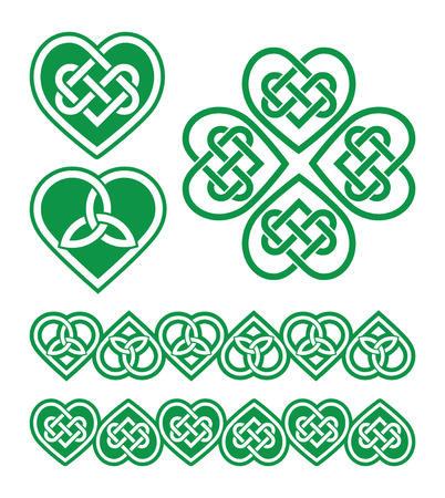 handcarves: Irish, Scottish Celtic green heart vector pattern