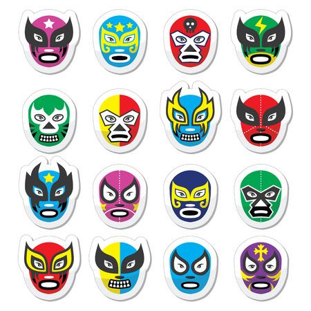 Lucha libre, luchador Mexicaans worstelen maskers pictogrammen Stock Illustratie
