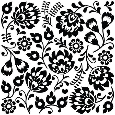 Arte popular polaco patrón negro - wzory Lowickie, Wycinanki Foto de archivo - 37396830