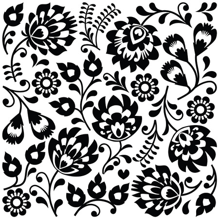Polish folk art black pattern - Wzory Lowickie, Wycinanki Illustration