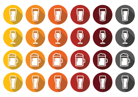 Beer glasses different types icons - lager, pilsner, ale, wheat beer, Vector
