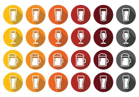 pilsner: Vasos de cerveza diferentes tipos de iconos - cerveza, pilsner, cerveza inglesa, cerveza de trigo,