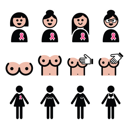 big breast: Breast cancer, woman with pink ribbon icons set